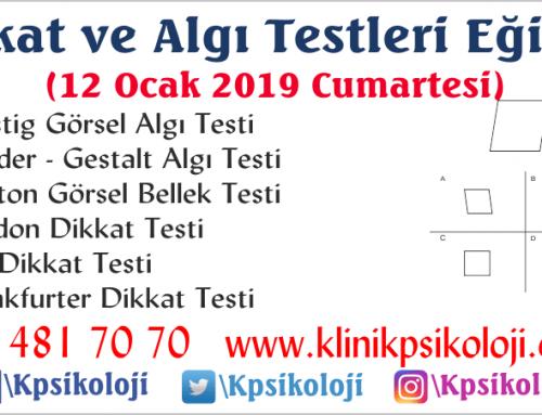 Dikkat ve Algı Testleri Eğitimi(6 Test)(12 Ocak 2019)