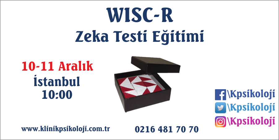 WISC-R Zeka Testi Eğitimi (10-11 Aralık 2017)